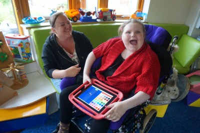 Heavenly and mum Kellie with one of the Lifelites iPads