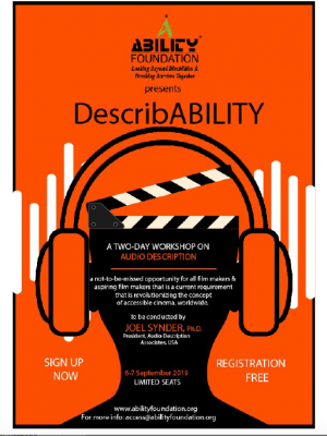 Describability by Ability foundation . Text sign up now and registration free