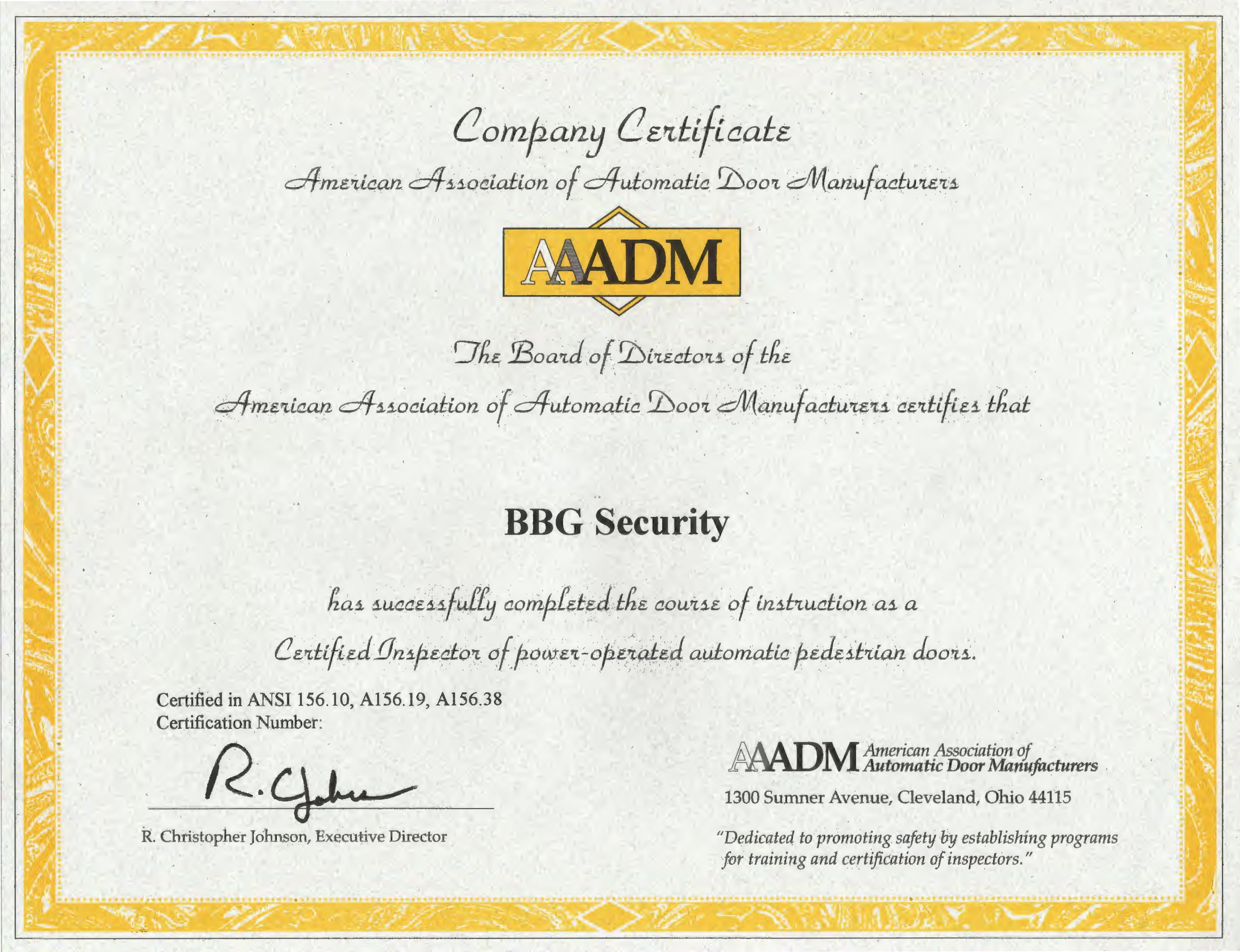 BBG Security Are AAADM Certified