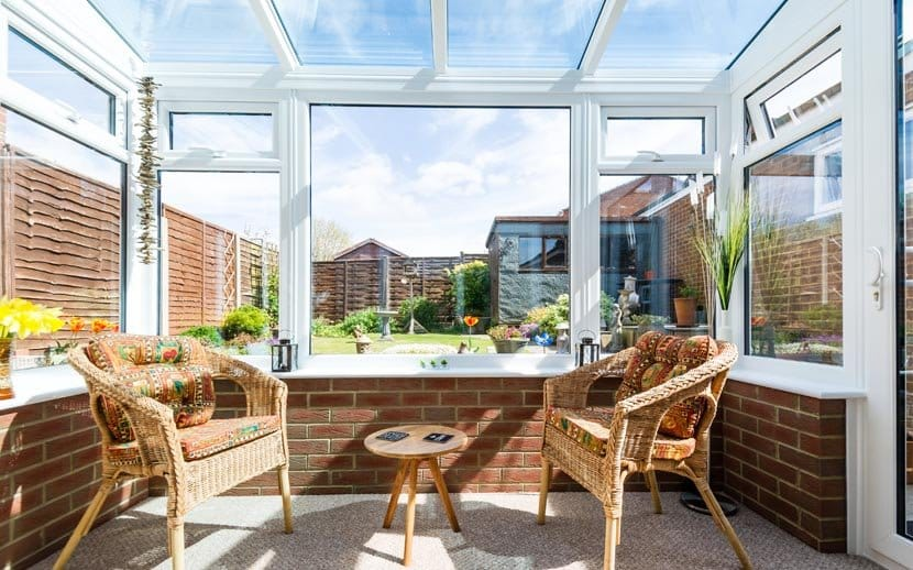 durabase conservatory with internal brick and full glass roof