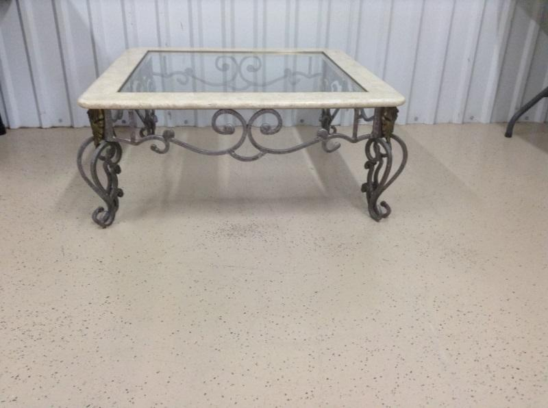 Lot 85wrought Iron Marble And Glass Top Coffee Table