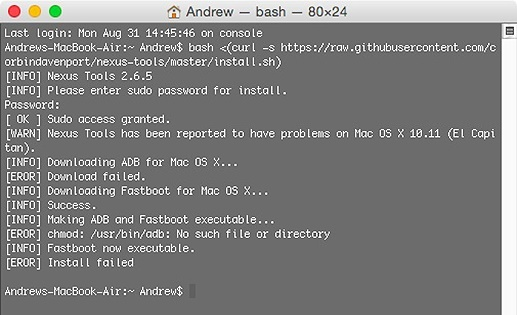 ADB and Fastboot installation on Mac computer