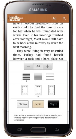 Reading Options on Kindle for Samsung