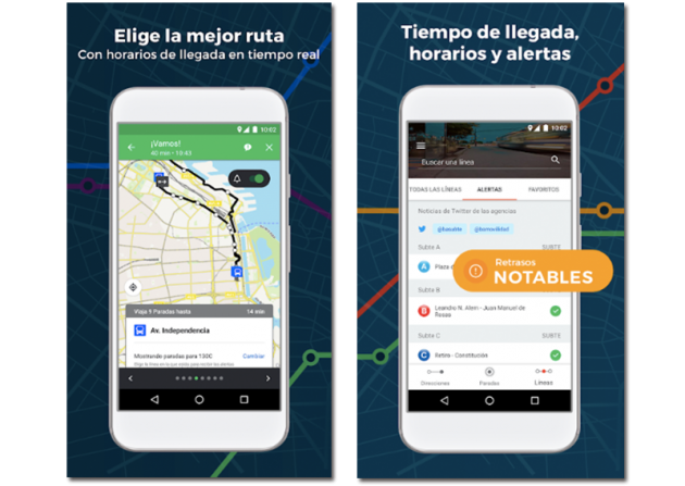 Screenshots of some of Moovit's features
