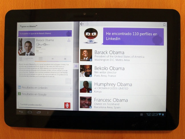 Sherpa application running on a tablet