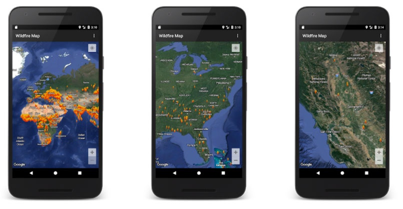 wildfire map apps fires