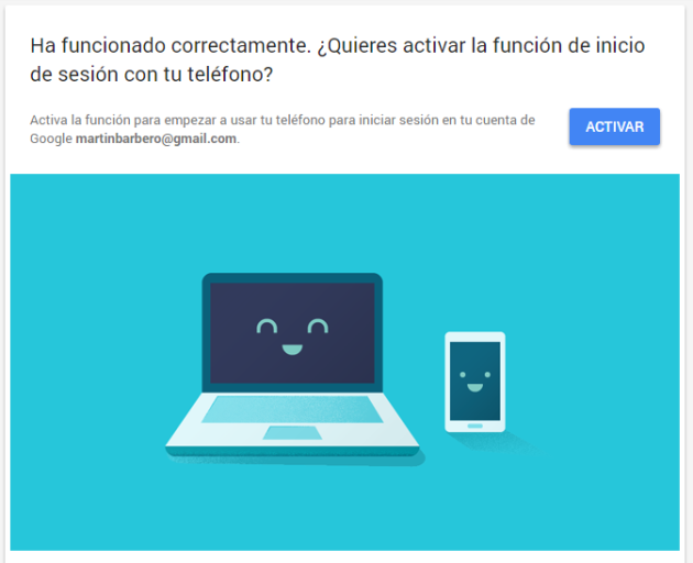 Activation of access from phone to Gmail account