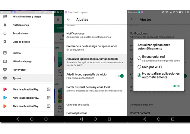 Screenshots of how to enable or disable automatic update of apps on Google Play