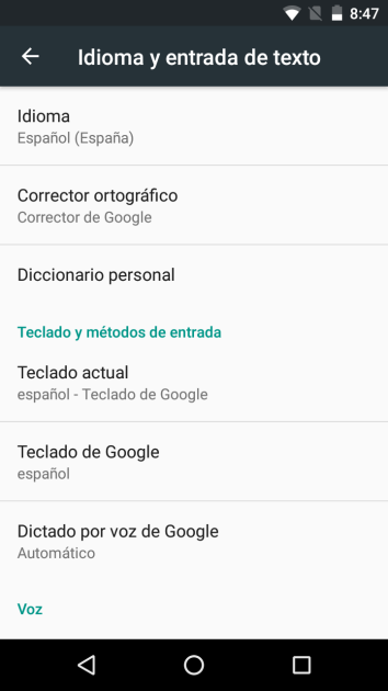 Google keyboard settings on an Android terminal