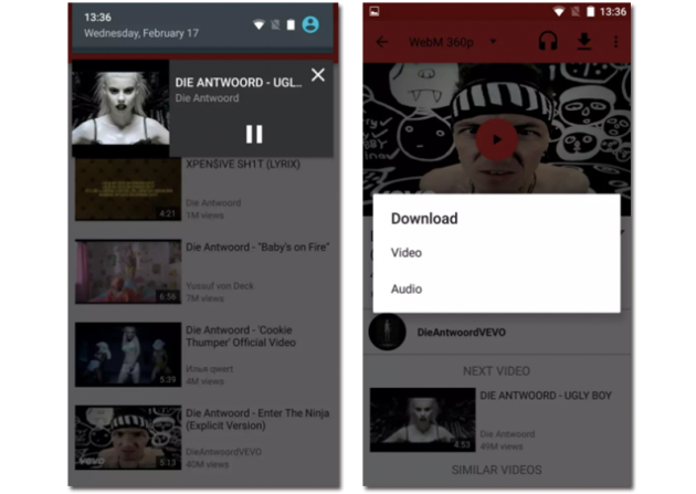 Screenshots of the NewPipe application to view and download YouTube videos
