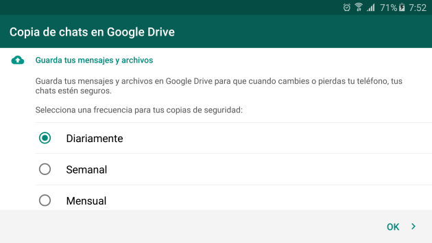 Save options in WhatsApp Drive