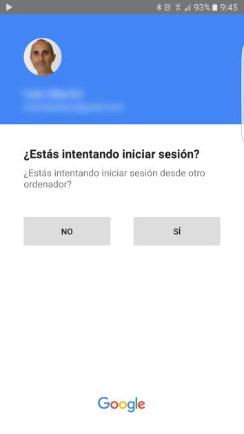 Gmail account access message from the phone