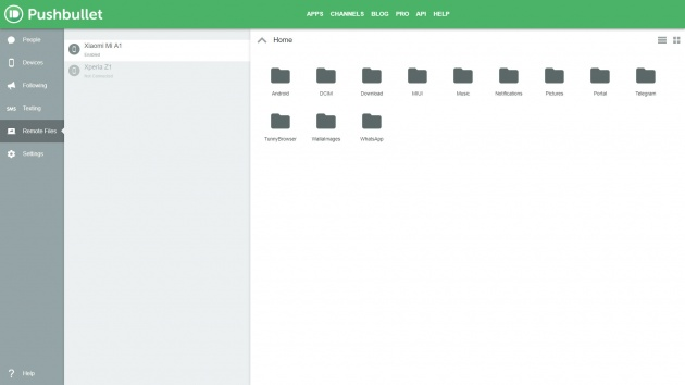 Pushbullet Remote File Sample in Chrome