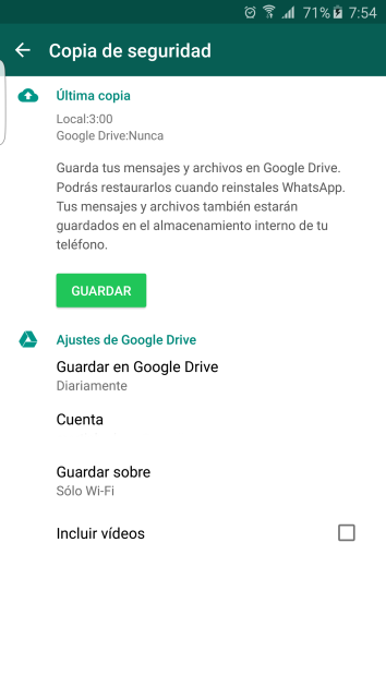 Drive options in the WhatsApp application for Android