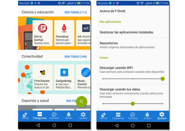 Screenshot of the alternative store to Google Play, F-Droid