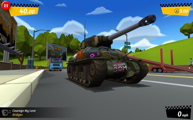 Tank in the game Crazy Taxi City Rush
