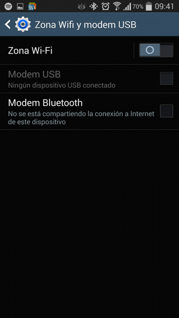 Options in the Wi-Fi zone and USB modem section