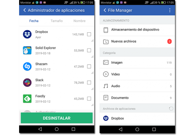 Screenshot of file manager and app manager role