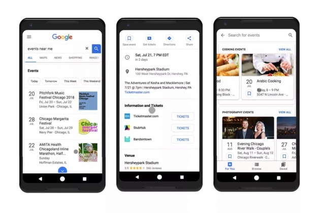 event recommendations in google search
