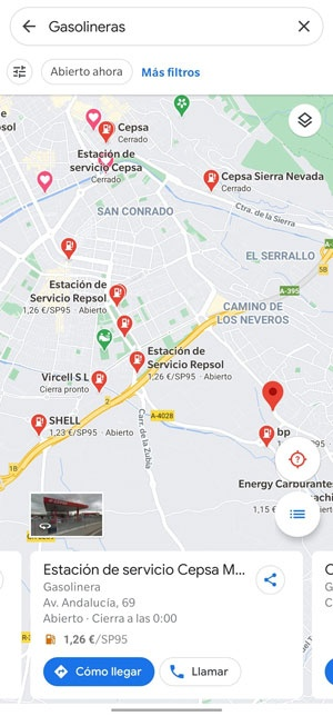 how to see prices gas stations google maps
