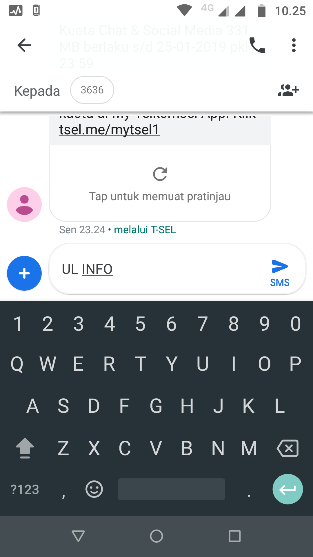 Cek kuota Telkomsel lewat SMS. (Screenshot)
