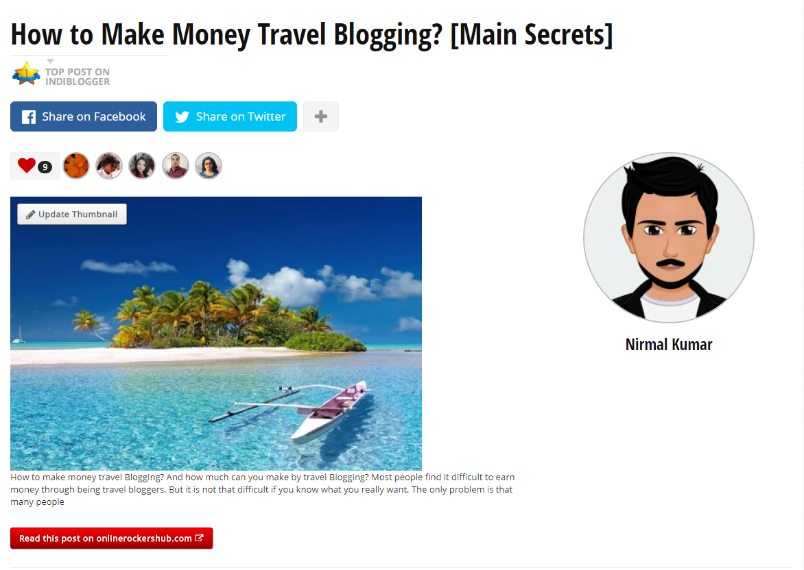 How to make money travel Blogging [Main Secrets] on IndiBlogger Homepage