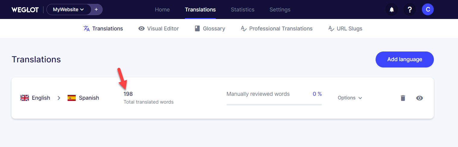 translated word count