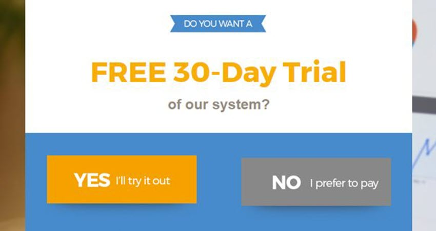 free trial popup