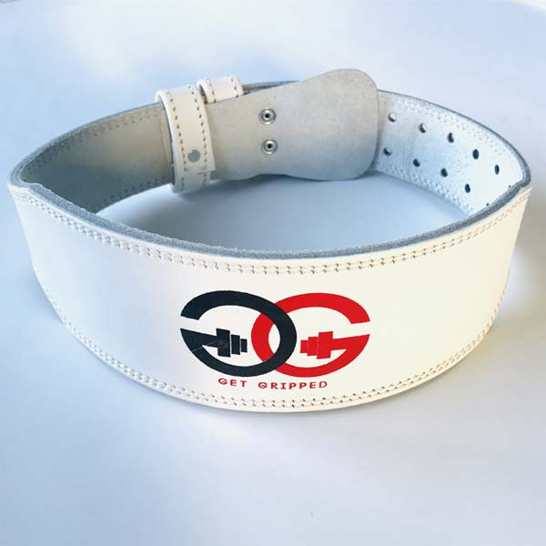 White Leather Weight Belt By Get Gripped