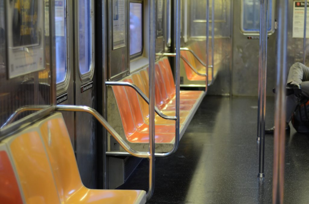 Unusually empty subway NYC