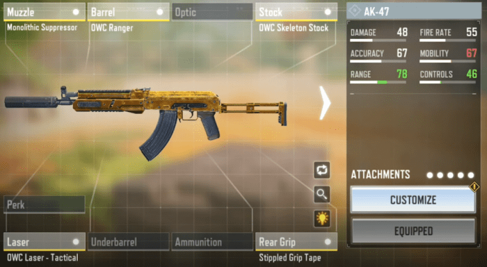AK-47 Gunsmith Loadout and Attachments in COD Mobile