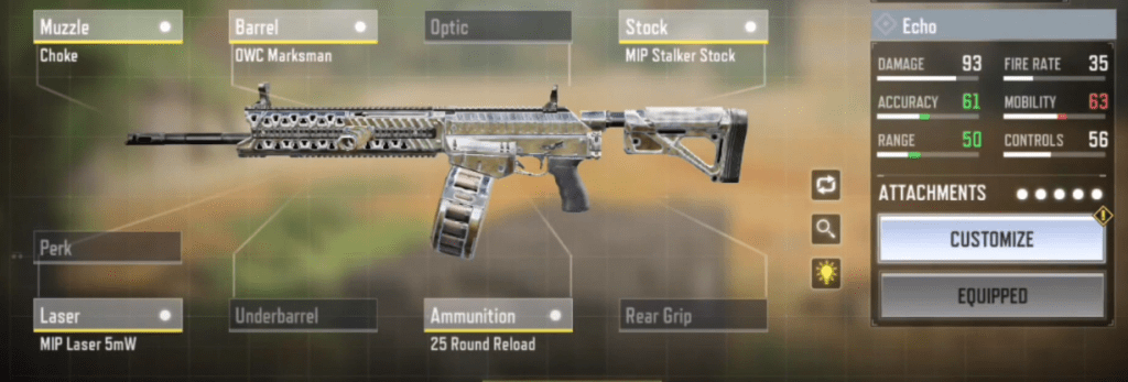 Echo Gunsmith Loadout and Attachments