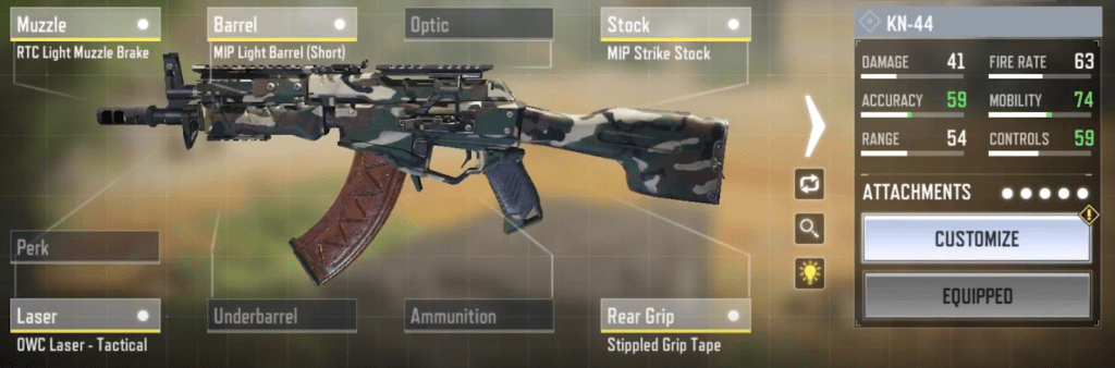 KN-44 Gunsmith Loadout and Attachments