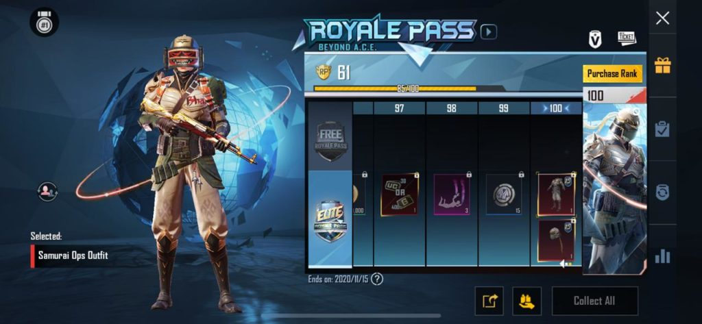 PUBG Mobile season 15 Royale pass has a end date of 15th November.