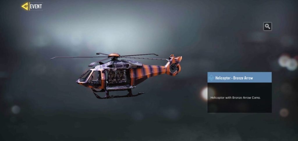 Helicopter - bronze arrow skin in prime loadout event with Javier Salazar as completion reward