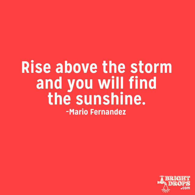 """""""Rise above the storm and you will find the sunshine."""" ~Mario Fernandez"""