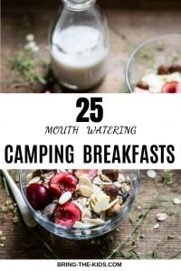 granola with fresh fruit and milk while camping