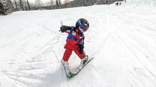 baby skiing with edgie wedgie