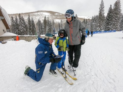 ski school with ski instructor