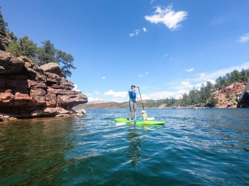 paddleboarding with kids on flaming gorge reservoir