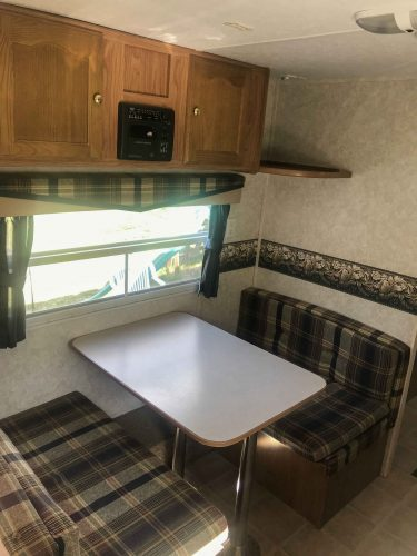 ugly wallpaper border in RV before