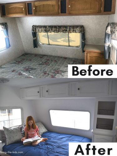 before after bedroom RV with more shelves