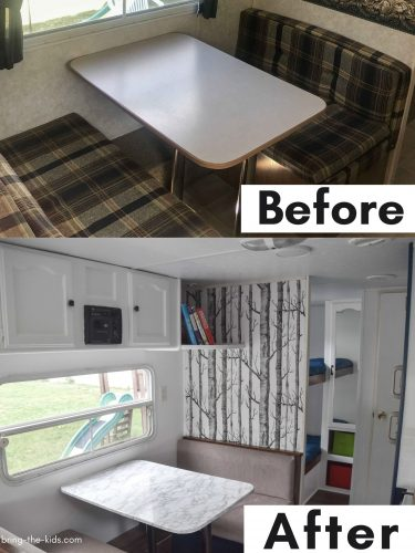 before after table cushions in RV