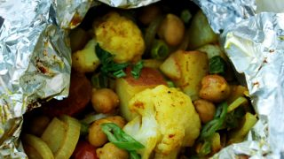 Cauliflower Curry Grill Packets