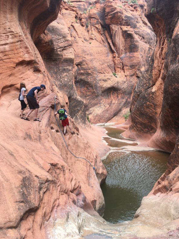 hiking red reef trail st george with kids