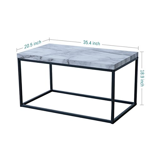 Tilly Lin Modern Accent Faux Marble Top Coffee Table For Living Room