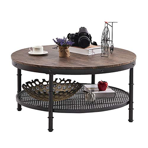 Coffee Table Round Wooden Design Metal Legs