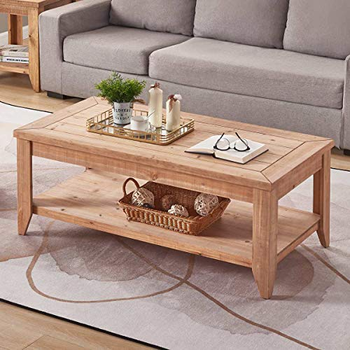 Bon Augure Natural Wood Coffee Table With Storage Shelf Rustic