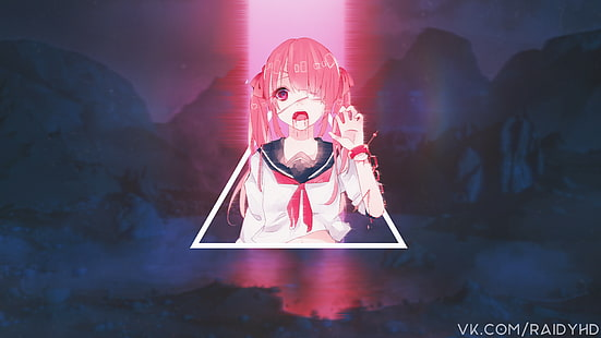 anime anime girls glitch art picture in picture wallpaper thumb