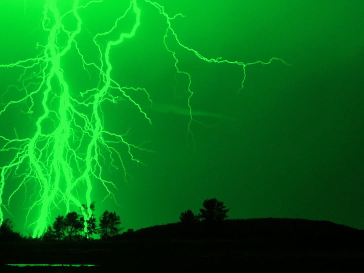 Green Lightning Wallpaper 4k